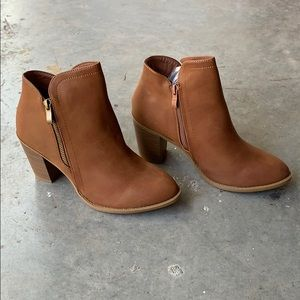 Tan Stacked Heel Boots size 8.5